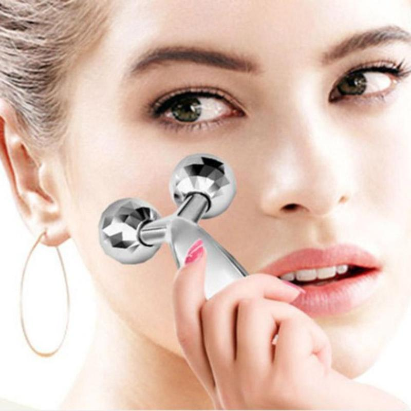 3D Rolle Facial Massager 360 Rotate Silver Thin Face Full Body Shape Massager Lifting Wrinkle Remover Massage Relaxation Tool 5