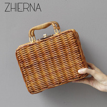 ZHIERNA Luxury Handbags Women Bags Designer Women Shoulder Bag Vintage Small Box Handmade Bamboo Bags Fashionable Hollow Out bag