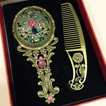 Make Up Miroir Chinois Vintage Creux-out Sculpture Strass Miroir Peigne Ensemble-15