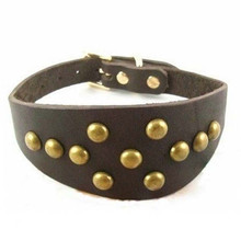 High Quality Cow Leather Greyhound Dog Collar Spiked Studded Pet Dog Collar Heavy Duty For Neck 14-15 Inch