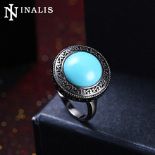 INALIS High Quality Black Gold Color Vintage Turkish Rings with Big Turquoises Stone for Women Costume Jewelry Cocktail Ring