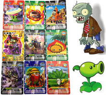 Anime 60pcs/lot Plants vs Zombies Cards Plants Zombies Garden War Action Figures Collect Game Card Pea Shooter Sunflower Kid Toy