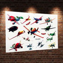 3D Planes Dusty Waterproof Cartoon Tattoo Sticker ACG-083 Child Fake Flash Temporary Tattoo AirPlanes Paste For Kids Body Art