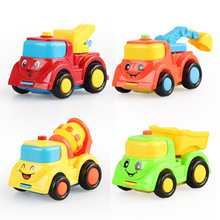 4pcs/lot City building construction series of children's toys mini car smiley baby truck back car Inertial car Kids Gift(China)
