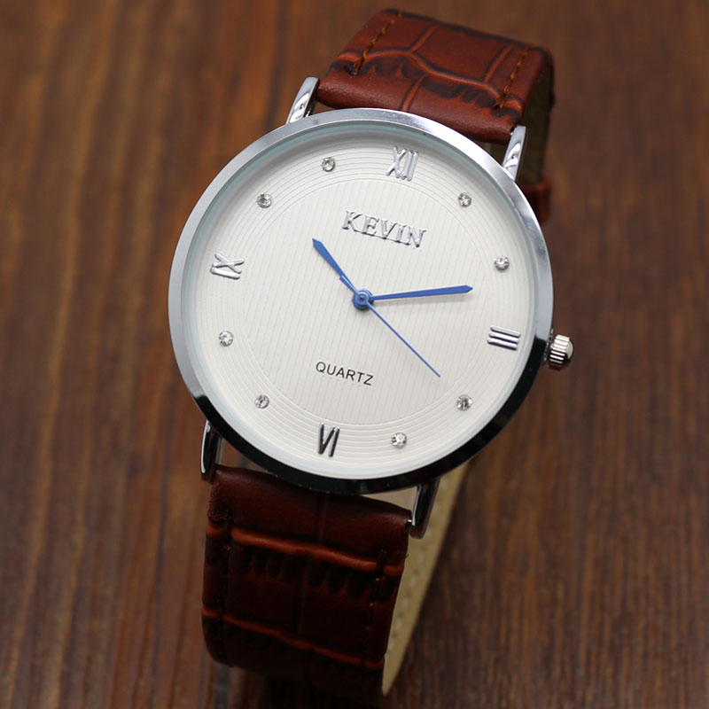 Crystal leather White Dial Quartz Analog KEVIN Watch Simple Style Fob Watch Free Shipping<br><br>Aliexpress