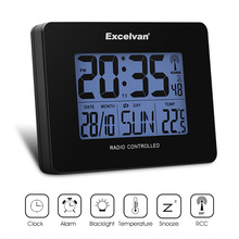 Excelvan Digital Radio Controlled Alarm Clock Thermometer with Snooze FunctionTemperature Calendar Display Wall Moutable
