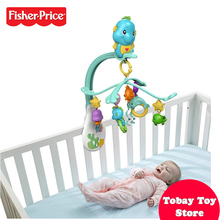Fisher Price Baby Bedding Set Funny Musical Mobile Animal Bed Bell Mobile Fundo do Mar Verde Claro DFP12 For Baby Sleeping Toys(China)