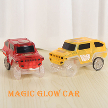 Hot sales Magic Car Bend Flex Glow in the Dark Kids Assembly Toy Glow Set LED Racing car Fun gift toy for children boy