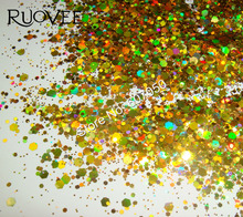 50gram x Holographic Laser Gold Colors Glitter Mix Hexagon Paillette Spangle Powder Shape for Nail Art Glitter Craft Decoration