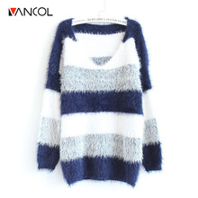 2016 Spring Fashion Pullover Crochet Sweater Casual Oversize Knitted Sweater Plus Size Tops Knitted Jumper Women Striped Sweater