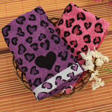 New 2016 High Quality 100% Cotton Soft Towels leopard print Face Towel loving heart print Hand Towels Bathroom Gift For women