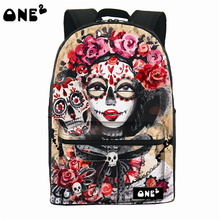 ONE2 Design pop art beautiful girl pattern nylon printing backpack and brand name women school backpack bag free shipping for U