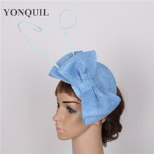 High sale 17 colors light blue fascinator with Ostrich pole imitation sinamay fascinators wedding hair accessories occasion hat