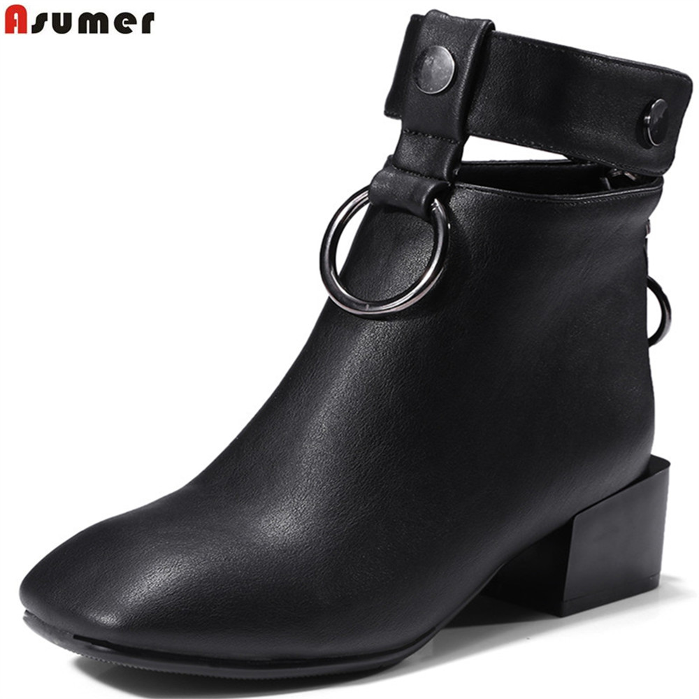 ASUMER fashion new arrive women boots black pink gray square toe zipper ladies boots buckle square heel ankle boots big size<br>