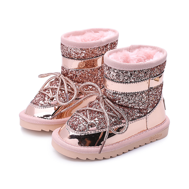 Waterproof Girls Boots Snow Boots Girls Rubber Boots Kids Winter Shoes Children Footwear