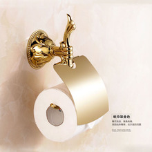 Antique Gold Solid Brass Toilet Paper Holder European Polished Bronze Roll Holder Wall Mounted Bathroom Accessories Products T5
