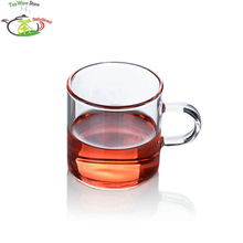 2 Pcs/lot Heat Resistant Glass Small Straight Kungfu Tea Cup w/Handle - 130ml/4.4 fl.oz high quality Europe Style glassware(China)