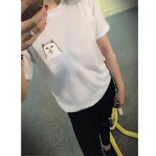New Arrival Hong Kong Fashion Pocket Harajuku Wild Cat Lovers Big Yards Women Wear Short-Sleeved T-shirt for women bts exo