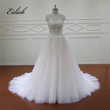 Sweet Princess A Line Flower Wedding Dresses Pearls Long Tail Short Sleeves Illusion Bodice Bridal Dress Chamagne Wedding Gown(China)