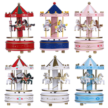 Christmas Decorations Wooden Carousel Merry-Go-Round Music Box Toy Kids Children Girls Birthday Gifts Carousel