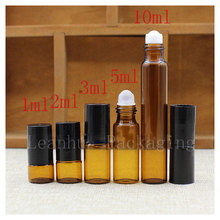 Wholesale Brown Essential oils Roll Ball Bottle, Personal Care Beauty &Skin Care Cosmetics Packaging Container,  Sample Bottle