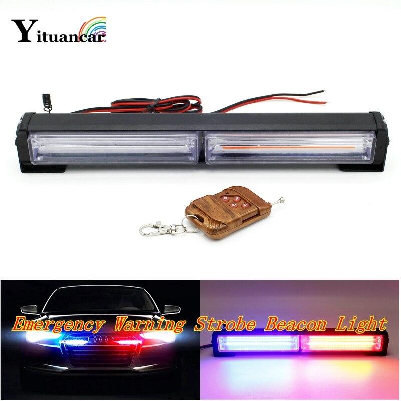 Yituancar 1Set 40W COB LED Strobe Flash Warning Car Light Bar IR Control 15 Modes Styling Fireman Police Traffic Emergency Lamp<br>