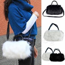 Winter Women Rabbi Hair Cute Furry Faux Fur Tote Shoulder Bag PURSE Stylish fluffy Cross Body Messenger Bag W1696