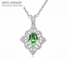 2016 Classic flower shape style Rhodium Plated necklace for woman With Crystals from SWAROVSKI for Valentine's Day gift