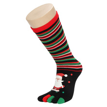 Chrismas Five Fingers Women Socks Santa Claus Reindeer Snowman Print Socks For Women Autumn Winter Toes Socks Crew High Quality(China)