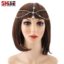 Fashion Rhinestone Bridal Hair Accessories Headband For Women Gold Hair Jewelry Girl Head Chain Bijoux Cheveux Headware Jewelry