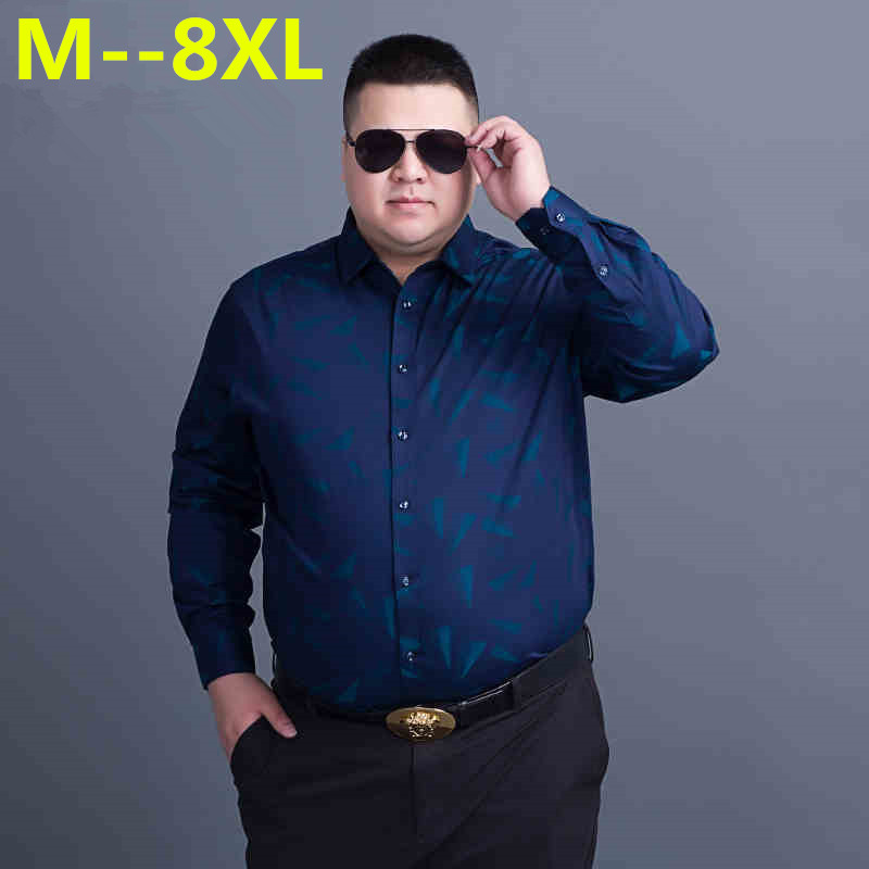 10XL 8XL 6XL Men Casual Long Sleeved Printed shirt Slim Fit Male Social Business Dress Shirt Brand Men Clothing Soft Comfortable