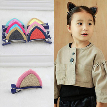 Sale 6 Colors 1PC Girls Lovely Cat Ear Hairpin Cute Barrettes Hairclips Headwear Hair Accessories(China)