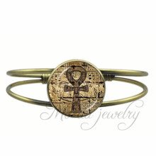 Ancient Egypt Ankh Open Cuff Bangle Occult Magic Ancient Egypt Bracelet Esoteric Egyptian Bangles Charms Jewelry Accessories(China)