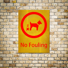 No Fouling Reflective Round Stickers Prohibited Animal Stool On The Road Warning Signs Public Places 1pc 15x20cm Vinyl Stickers