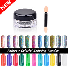 New 2g/box Mirror Powder Laser Silver Pigment Powder Chrome Pigment Rainbow Shiny Nail Glitters Nail Art  Sequins