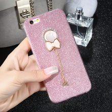 DOEES Bling Diamond Case For iPhone 7 7 Plus Bowknot Rhinestone Logo Hole Cute Cover For iPhone 7 Plus Glitter TPU Silicone Case