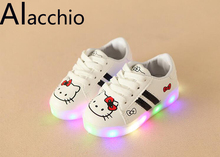 Children's Casual Shoes LED  Lighted Hook Loop  1-5  Years Girl Rubber Soles Star Pattern Increase Waterproof Anti-Skid Sports