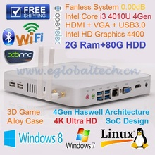 DHL Free Shipping Fanless Industrial PC Intel Core i3 4010U Graphics 4400 3D Game Computer 2GB RAM 80GB HDD Mini ITX Thin PC