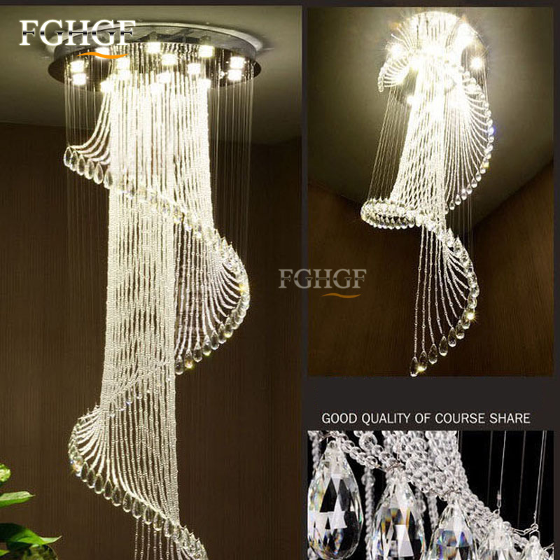 Modern Crystal Chandelier Large Size Crystal Chandeliers Spiral Lamp Long Stair Lustres Lighting Fixture for Foyer Hotel Villa (2)