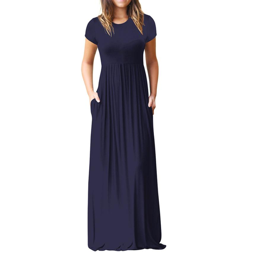 Hot Sale Floor Length Dress Women O Neck Casual Pockets Short Sleeve Loose Party Dress Vestido Longo De Festa 8