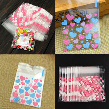 2016 100Pcs Mini Pink Heart  Clear DIY Cellophane Cookie Sweet Wedding Birthday Candy Party Gusset Packaging Bag
