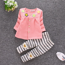 Baby spring and autumn suit baby clothes girls children wear Korean tide 1-3 years old cardigan sets Korean version of the child(China)