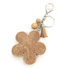 2016 portable plum flower key female cute key chains key covers the Rhine stone Mosaic leather fringed key cap gift ten colors