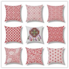 Fishion Cotton Cloth Red Chinese Style Plaid Pattern Car Chair Home Decor Pillow Case 17.1' X 17.3' Rectangle Headboard Cojines
