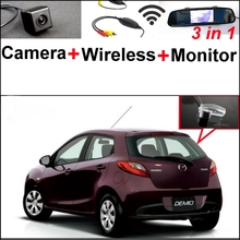 For Mazda 2 Mazda2 Demio 3 in1 Special Rear View Camera + Wireless Receiver + Mirror Monitor Easy DIY Backup Parking System