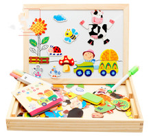 Wooden Educational Toys Farm Land Magnetic Spell Double Puzzle Sketchpad Kids Gift Innovative Development Three-dimensional(China)