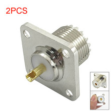 2pcs UHF SO-239 Female Jack Square Shape Solder Cup Coax Connector for Ham Radio CLH