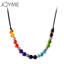 Chakra necklace 7 colors natural stone beads pendant necklaces women men jewelry accessories(China)