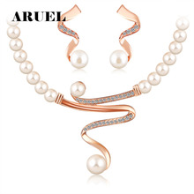 ARUEL jewelry sets gold Color african beads austrian crystal fashion necklace earrings wedding women gift bride girl set jewelry