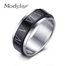 Modyle 2016 Punk Black Spinner Roman Numerals Stainless Steel Rotatable Men's Rings